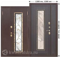 Входная металлическая дверь со стеклопакетом Плющ Венге 1200,1300