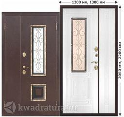 Входная металлическая дверь со стеклопакетом Венеция Белый ясень 1200,1300